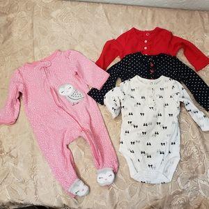 Carter's Babygirl Pajama & Longsleeve Onesies, 6M